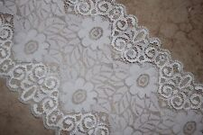 """1 yard White Floral Embossed galloon sheer stretch sewing sew lace 6"""" wide"""