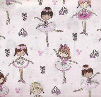 BALLERINA BALLET DANCERS PACKED PINK PURPLE GLITTER COTTON FABRIC FQ