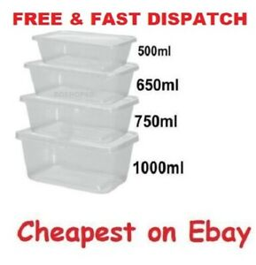 Takeaway Food Containers Plastic Microwave Freezer Safe Storage Boxes + LIDS