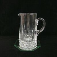 Vintage Applied Handle Heavy Cut Crystal Water Pitcher 7 Inches Tall