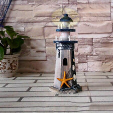 "Nautical decor(10.4""tall)Wood Ocean Beach Lighthouse Beaconhouse Ornament Figure"