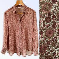 M&S Floral Shirt Blouse Top Fit XL 18 20 Pink Burgundy Long Sleeve Chest 44""