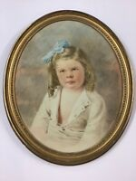 Antique Watercolor Portrait Young Girl Signed A. W. Adams 1907