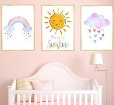 Rainbow Cloud Sun Nursery Prints Set, Baby Girl Bedroom Art 3 Pictures, Children