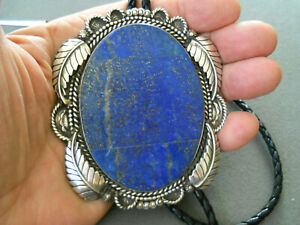 WR HARRIS Southwestern Native American Lapis Sterling Silver Bolo Tie Signed 4x2