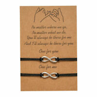 Infinity Friendship Lover Couple Charm Card Wish You Me Promise Bracelet Gift UK