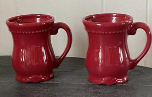 Princess House Pavillion Stoneware  Red Coffee Mugs (2)