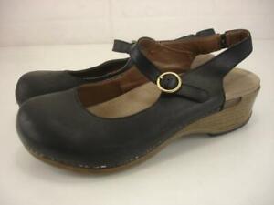 Women's 7.5 8 38 Dansko Maureen Black Oiled Leather Slingback Sandals Clog Shoes