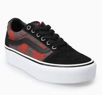 New Vans Ward Platform Fuzzy Dots Skate Shoes Black Red Womens SIze 6.5