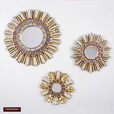 Sunburst Wall Mirrors Set 3 - Peruvian Handpainted glass Wood Round Mirror Wall