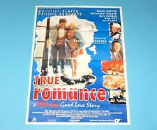 DOUBLE SIDED FOLDOUT POSTER TRUE ROMANCE / KEANU REEVES 1993 HITKRANT MAGAZINE