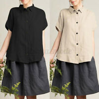 UK Women Short Sleeve Collared Cotton Loose Plain Tops Shirts Button Down Blouse