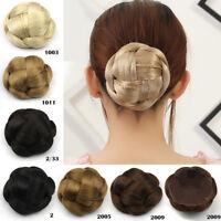 Women Braided Hair Bun Clip In Synthetic Big Chignon Donut Roller Hairpiece Updo