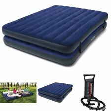 Double Airbed Air Mattress Queen Size Intex Inflatable Raised Camping Bed w Pump