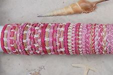 30 PIECES MIX PINK LEATHER SURF FRIENDSHIP BRACELETS WRISTBAND WHOLESALE / b058