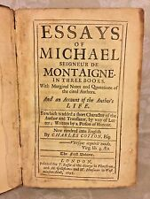 Antique  Book - Essays of Michael Seigneur de Montaigne in 3 Books 1693 Volume 1