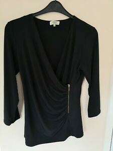 Top 16 Black Silky Slinky Stretch Long Sleeve polyester front Ruche zip party