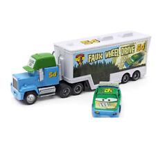 Cars #54 Faux Wheel Drive Mack Hauler Truck & Racer Metal Toy Car 1:55 Loose New