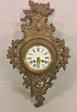 Antique Mougin Cartel Clock Dostal Bronze Case Running Porcelain Face
