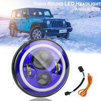 "Blue 7"" Projector LED Headlight Halo Angle Eye DRL For Jeep Wrangler Land Rover"