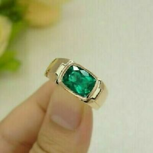 3Ct Cushion Cut Green Emerald Men's Engagement Ring 14K Yellow Gold Finish