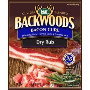 Bacon Cure Dry Rub LEM Backwoods Original  seasons 25 lbs Bacon-Pork Butt-Deer