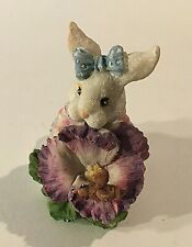 "Vintage Easter Bunny Girl w/Flower Resin Figurine 2.5"" X 2"" X 1.25"" Box 37"