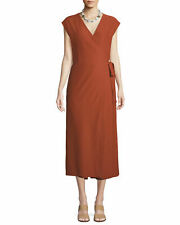 NEW Eileen Fisher Sleeveless Wrap Front Jumpsuit in Deep Pekoe - Size S #D2152