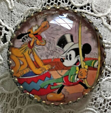 """MICKEY MOUSE AND PLUTO Glass Dome BUTTON 1 1/4"""" Vintage CIRCUS Art"""