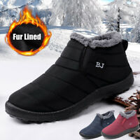 Men's Snow Boots Warm Fur Lined Ankle Waterproof Slip on Outdoor Winter Shoes