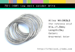 Special-70℃(158F)low melt temperature solder wire,dia.1.0mm, 3 meter length