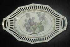 "ACS Bavaria Reticulated Dish Bowl Grape Pattern 9.5 x 5.75"" Gold Accents China"