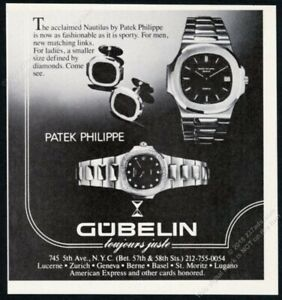 1982 Patek Philippe Nautilus 2 watch photo Gubelin dial vintage print ad