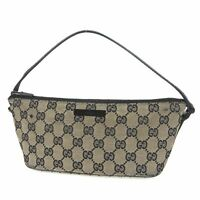 Auth GUCCI GG Canvas Leather Accessory Pouch Mini Hand Bag Italy F/S 12198bkac