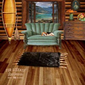 Bear Skin Pelt Rug - Brown Buffalo Area Rug w/ Wolf Tails Faux Fur FUR ACCENTS