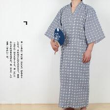 Men Check Kimono Yukata Cotton Japanese Bathrobe Robe Gown 3/4 Sleeve Nightwear
