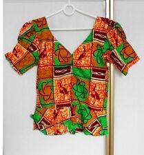 "Vintage African Tribal Ethnic Print Cotton Shirt Blouse Top Waist 30"""
