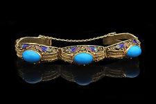 Vtg Chinese Export Silver Filigree Gold Gilt Turquoise Enamel Bracelet