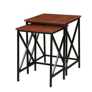 Convenience Concepts Tucson Nesting End Tables, Cherry/Black - 161869CH