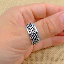 Mens Womens Plain 925 Sterling Silver Celtic Spinning Worry Band Thumb Ring 9mm