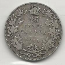 CANADA,  1913,  25 CENTS,  SILVER,  KM#24,  VERY GOOD+