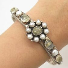 """Nicky Butler 925 Sterling Silver Real Pearl Rutilated Quartz Cuff Bracelet 7"""""""