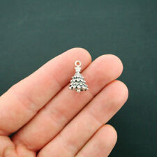 10 Christmas Tree Charms Antique Silver Tone 3 Dimensional - XC51