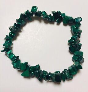 Malachite Gemstone Chip Bracelet with organza bag