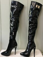 """Black Patent Leather Thigh Boot """"1969"""" brand Made in Italy size EU 36 NWB"""