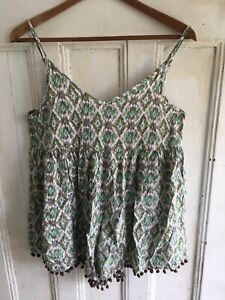 Into Romper Sheer Jumpsuit Womens Printed Sleeveless Boho Oversized Size 8