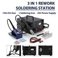 853D 3 in 1 Soldering ReWork Station Solder Iron SMD Hot Air Gun DC Power Supply