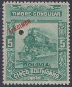 BOLIVIA 1906 REVENUES CONSULAR Akerman JA3S TOP VALUE PERF PROOF + SPECIMEN MNH