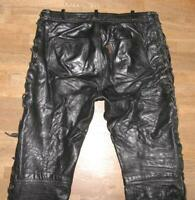 "Buffalo Imatra He Lace-Up Leather Jeans / Biker Trousers Black Approx. W34 "" /"