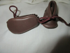 """2 1/4"""" BROWN MOCCASIN TIE DOLL SHOES by Playhouse"""
